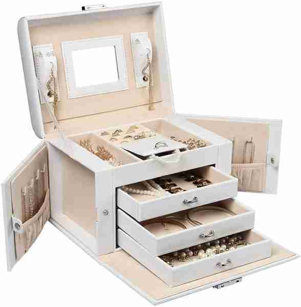 Homde Jewelry Box Necklace Ring Storage Organizer Synthetic Leather