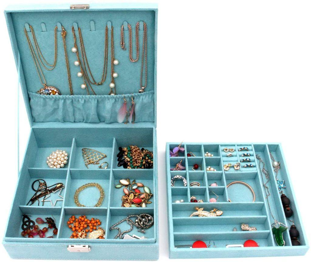 KLOUD City Two-Layer lint Jewelry Box Organizer Display Storage case with Lock