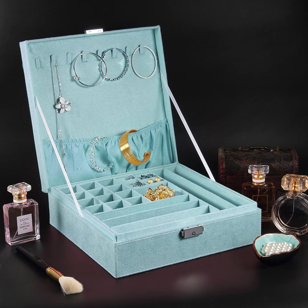 MALEDEN Jewelry Box Lint Jewelry Organizer Case for Necklaces
