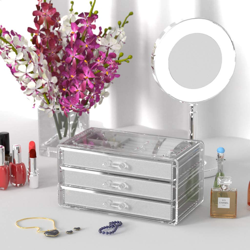 UEK Jewelry Box 3 Drawers Acrylic Jewelry Organizer