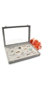 KLOUD City Jewelry Box Organizer Display Storage case(Gray-7 Slots)