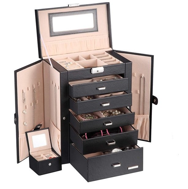 Homde 2 in 1 Huge Jewelry Box Organizer Case Faux Leather