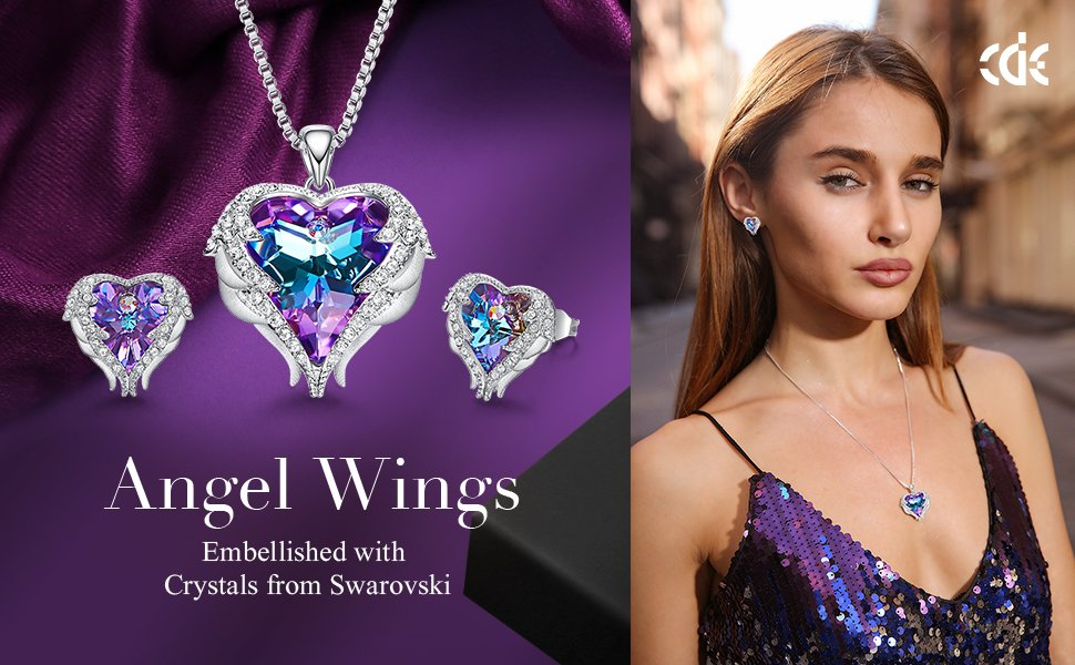 Angel Wing Heart Earrings Mermaid color