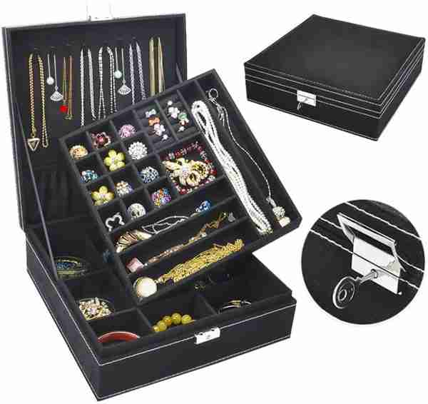 Jewelry Box for Women Compartments Necklace Organizer