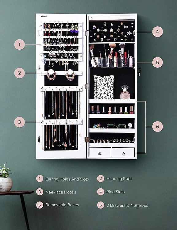 Nicetree 8 LED Mirror Jewelry Cabinet